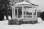 Telfer Prints - Winter Time Gazebo Print by John Telfer