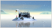 Swan Fantasy Art Framed Prints - Winter Time II Framed Print by Harald Dastis