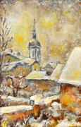 Outside Ice Paintings - Winter town by Jiri Capek