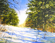 Cross-country Skiing Paintings - Winter Trail by William Beaupre