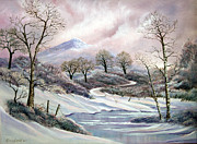 Snowscape Paintings - Winter trees by Karen Barton