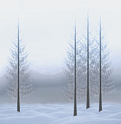 Nina Bradica Metal Prints - Winter Trees Metal Print by Nina Bradica