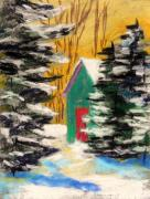 Fir Trees Drawings - Winter Twilight by John  Williams