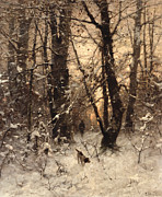 Dog Walking Posters - Winter Twilight Poster by Ludwig Munthe