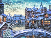 Watercolor Card Prints - Winter Twilight Print by Mo T