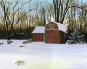 Original Oil On Canvas Posters - Winter Twilight on Thirkield Barn Poster by Cecilia  Brendel