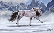 Landscape Digital Paintings - Winter Unicorn by Kate Black