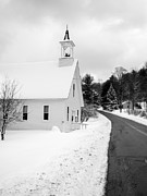 Vermont Prints - Winter Vermont Church Print by Edward Fielding
