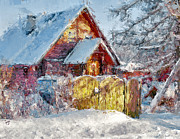 Siberia Digital Art - Winter Village House by Yury Malkov