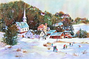 New England Village  Paintings - Winter Village by Sherri Crabtree