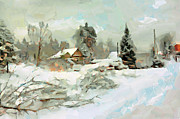 Winter Travel Framed Prints - Winter Village Framed Print by Yury Malkov