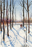 First Snow Paintings - Winter Walk 2 by Glenn Farrell