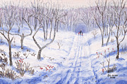 Bare Trees Pastels Prints - Winter Walk Print by George Burr