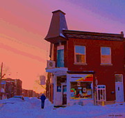 Verdun Restaurants Prints - Winter Walk In Verdun Depanneur 7 Jours Art Of Verdun Montreal Street Scenes Carole Spandau Print by Carole Spandau