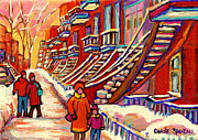 Couples Paintings - Winter Walk On The Avenues Sunset Near Spiral Staircases Montreal City Scene Painting Carole Spandau by Carole Spandau