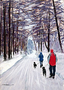 Labs Pastels - Winter Walk by Shelley Koopmann