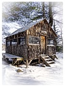 Lodge Prints - Winter Warming Hut Print by Edward Fielding