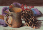 Pine Cones Paintings - Winter Warmth by Katherine Seger