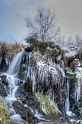 Nature Icicle Prints - Winter Waterfall Print by David Birchall