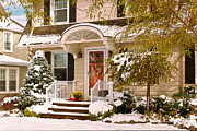 Christmas Doors Framed Prints - Winter - Westfield NJ - Its too early for winter Framed Print by Mike Savad