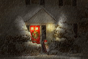 Minimalistic Prints - Winter - Westfield NJ - Twas the night before Christmas  Print by Mike Savad