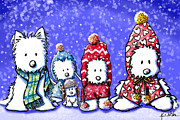 Westies Prints - Winter Westies Print by Kim Niles