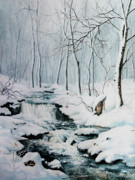 Winter Landscape Painting Originals - Winter Whispers by Hanne Lore Koehler