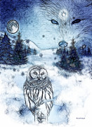 Moon Digital Art - Winter White by The Feathered Lady