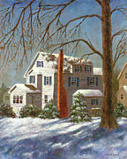 Suburbs Paintings - Winter White by Susan Savad
