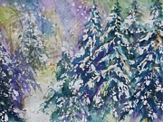 Snow-covered Landscape Painting Prints - Winter Winds Print by Ellen Levinson