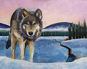 Yellowstone Painting Prints - Winter Wolf Print by Harriet Peck Taylor
