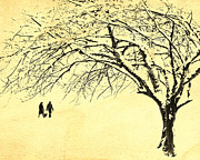 Couple In Snow Posters - Winter Wonderland Poster by Edmund Nagele