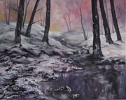 Woodpeckers Paintings - Winter Wonderland by Jean Walker