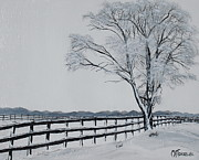Snow-covered Landscape Painting Posters - Winter Wonderland Poster by Melissa Torres