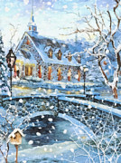 Glass Paintings - Winter Wonderland by Mo T