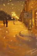 Night Lamp Paintings - Winter Wonderland  by Monica Marie