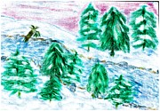 White River Scene Pastels Prints - Winter Wonderland Print by Shaunna Juuti
