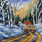 Canada Paintings - Winter Wood Horses by Prankearts by Richard T Pranke