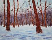 Woods Pastels Prints - Winter Woods Print by Marion Derrett