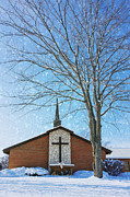 Red Bricks Prints - Winter Worship Print by Bill Tiepelman