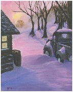 Cabin Window Paintings - Winter wouldnt wait by John Papenfuss