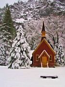 Christmas Holiday Scenery Art - Winter Yosemite Chapel by Heidi Smith