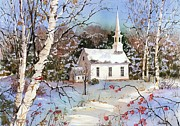 New England Snow Scene Painting Framed Prints - Winterberries Framed Print by Sherri Crabtree