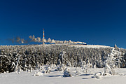 Brocken Prints - Winterly Brocken mountain with stream train Print by Christian Spiller