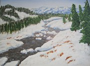 Snow-covered Landscape Painting Posters - Winters Chill Poster by Anwar Sahib