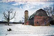 Winters Day Barn Print by Cheryl Cencich