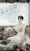 Winters Day. Portrait Of Madame De Print by Giuseppe or Joseph de Nittis