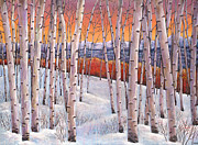 Birch Painting Acrylic Prints - Winters Dream Acrylic Print by Johnathan Harris