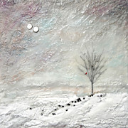 Snowscape Paintings - Winters Hush by Victoria Primicias