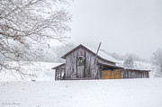 Snow On Barn Posters - Winters Past Poster by Benanne Stiens
